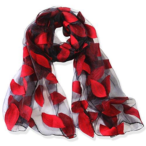 YFZYT Organza-Schal für Damen mit Feder Stickerei Muster/Elegantes Accessoire für...