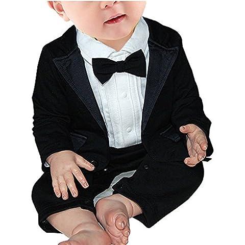 Minetom Ragazzino Core Romper, Pagliaccetto Per Bambini e Ragazzi Con Bowknot Abiti da Matrimonio Partito Poco Gentleman ( 69-74 ( 6-9 Months ) ) - Partito Con Cappuccio