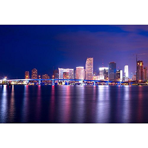 Pitaara Box Downtown Cityscape, Miami, Florida, Usa Peel & Stick Vinyl Wall Sticker 24 X 16Inch