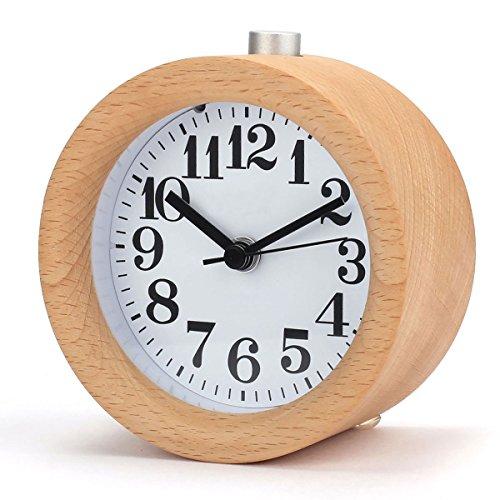 Retro Holz Wecker, Handgemachte Leise Analog Tischuhr Klein Runde mit Nachtlicht Snooze Funktion für Zuhause Schlafzimmer Büro