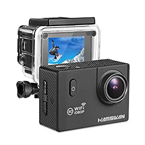 [2.4GHz,12MP,170 Wide Angle,Waterproof to 98ft] HAMSWAN Waterproof Action Camera Carcorder WiFi 1080P 2-inch 170 Wide Angle Dashboard Cam with G-sensor Loop Recording 32GB Extension for Surfing Skiing Parachuting Diving etc.