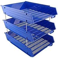 Soporte de bandeja para archivos de oficina, almacenamiento para documentos y hojas A4 de 3 niveles, de la marca Ardisle , color azul