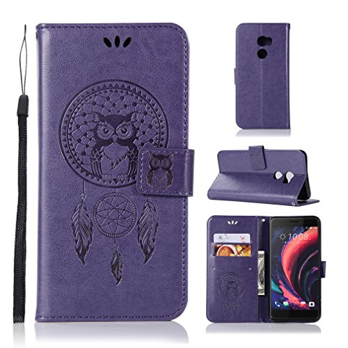 LMAZWUFULM Hülle für HTC One X10 (5,5 Zoll) PU Leder Magnetverschluss Brieftasche Lederhülle Eule und Traumfänger Muster Standfunktion Ledertasche Flip Cover für HTC One X10 Lila