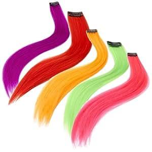Smiffys - Rajout, extension mèches de cheveux de déguisement - Rose fluo
