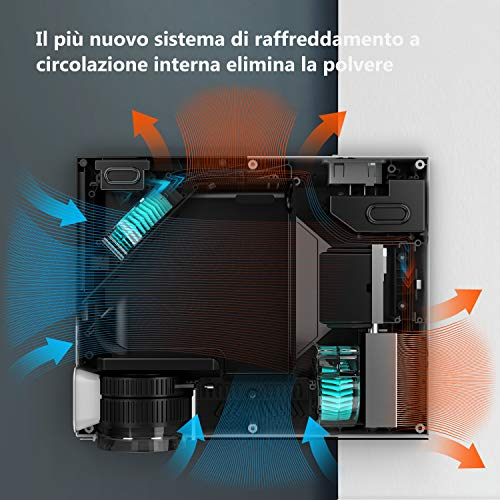 Proiettore Full HD Risoluzione Nativa 1080p a 4000 Lumen, ABOX LCD Mini Videoproiettore Portatile Per Casa /Viaggio/Estero, Compatibile Android / IOS / PS4 / TV Box/ Micro SD