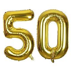 Idea Regalo - SMARCY Palloncini 50 Anni Palloncino per la Decorazione del 50 ° Compleanno (d'Oro)