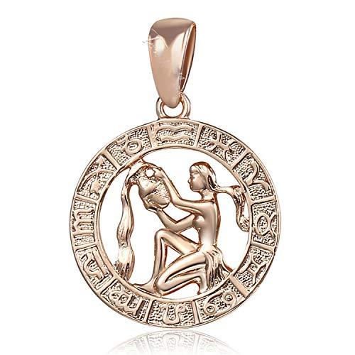 n Konstellationen Anhänger Halsketten Für Frauen Männer 585 Rose Gold Männer Schmuck Geburtstagsgeschenke GP287 Wassermann ()