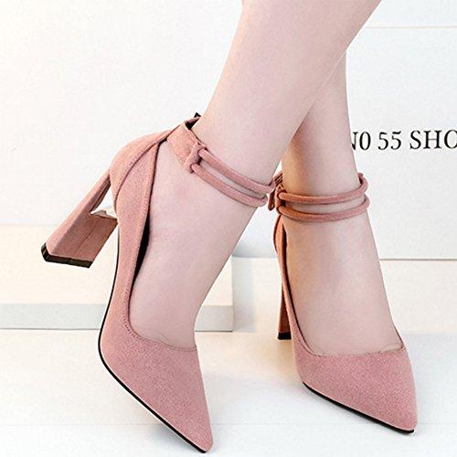 Aisun Damen Elegant Knöchelriemchen Pointed Toe Blockabsatz Schnalle Pumps Pink