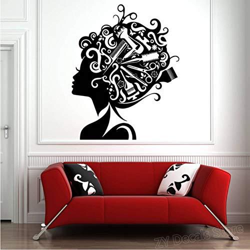 Adesivi murali per parrucchieri decalcomanie per capelli adesivi per parrucchieri strumenti per parrucchiere barbiere salone di bellezza adesivi murali autoadesivi 56x70cm