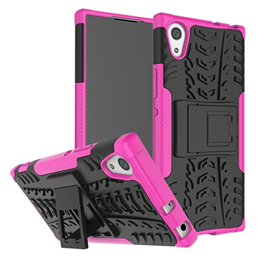 Schutzhülle Sony Xperia XA1 Ultra Hülle, Dual Layer Rüstung Kombination Stoßfest Heavy Duty Schild Harte Schale für Sony Xperia XA1 Ultra (Hot pink)