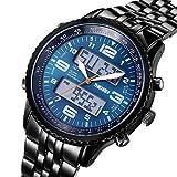 FENKOO SKMEI ® Herren-Sport-Armbanduhren für Jungen Mode voll Legierung digital&Quarzwerk Uhren Alarm Stoppuhr