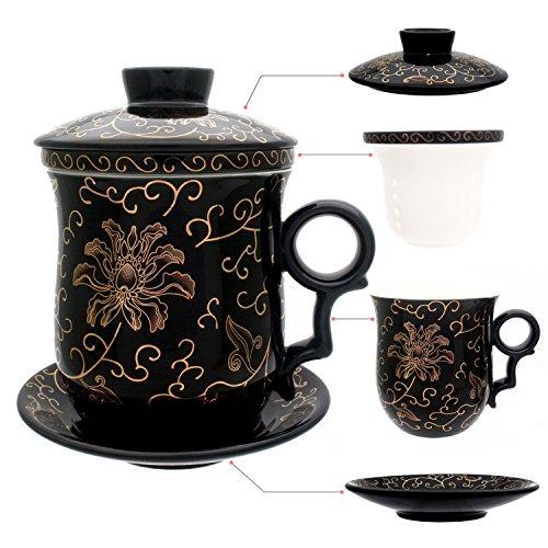hollihi Porzellan Teetasse mit Deckel und Untertasse-Ei Sets-Chinesischer Jingdezhen Keramik Kaffee Tasse Teetasse Loose Leaf Tea Brewing System für Home Office (Chinesische Keramik-topf)