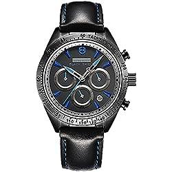 Schwarz Blau Herren Fashion funktionelle Wasserdicht Sports Armbanduhr Leder Saphir Quarz Armbanduhr