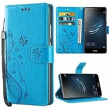 Huawei P9 Coque ,iDoer P9 Coque Rabat Portefeuille PC Cuir Anti choc avec Béquille Housse Etui pour Huawei P9 Bleu
