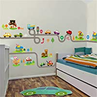Cartoon DIY Car Animal Height Measure Wall Stickers for Kids Rooms Children Growth Chart Decor Wall Art Decals Boy Gift