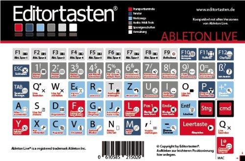 Preisvergleich Produktbild Ableton Live 6-9 Tastatur Aufkleber Sticker mit Shortcuts (Befehle / Kürzel) auf deutsch