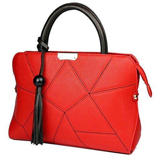 NiSeng Damen Kleine Handtasche PU Leder Umhänge handtaschen Uni Elegent Schultertasche Rot