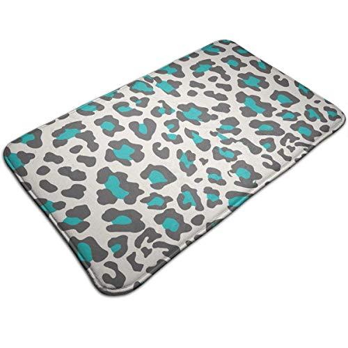 Myhou Indoor Outdoor Super Water Absorption Cheetah Print Blue Doormat for Front Door Inside Floor Bath Mats Non-Slip Entrance Rug 16 X 24 Inch