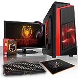 Fierce APACHE PC Gamer Paquet - Vite 4GHz Quad-Core Intel Core i7 4790, 1To Disque Dur, 16Go of 1600MHz DDR3 RAM / Mémoire, INTEL Intel HD Graphiques Intégrés, ASUS H81M-P PLUS Carte Mère, CiT F3 Noir Boite D'ordinateur/Rouge Fans, HDMI, USB3, Wi - Fi, Parfait pour un jeu compétitif, Windows non Inclus, Clavier (UK/QWERTY), Souris, moniteur 21.5 pouces, casque, 3 Ans De Garantie 456332