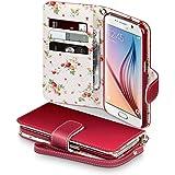 Samsung Galaxy S6 Cover, Terrapin Handy Leder Brieftasche Case Hülle mit Kartenfächer für Samsung Galaxy S6 Hülle Rot mit Blumen Interior