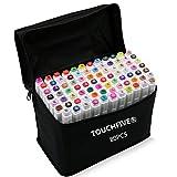 TOUCHFIVE 80-couleurs Marqueur Peints à la Main Huile-alcool Double 1mm/6mm 80 Couleurs Graphique + Sac de Crayon [Conception d'animation]