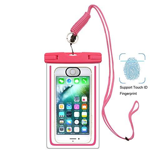 UPhitnis IPX8 Wasserdichte Hülle Tasche Beutel mit Touch-ID, Handyhülle, Staubdichte Hülle für iPhone 8/7/7plus/6/6s/6sPlus/SE/5s/5/5c, Galaxy S8/S7/S7 edge/S6/S6 Edge/S5,Huawei P8 usw bis zu 6 Zoll