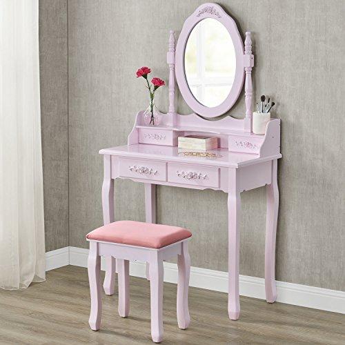 """Schminktisch """"Mira"""" rosa / pink mit Spiegel und Hocker"""