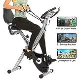 Profun Vélo d'Appartement Pliable avec Jeu de Simulation APP &10 Niveaux de Resistance magnétique, Vélo d'Exercice Fitness avec Support pour Tablette & Siège Large et Confortable