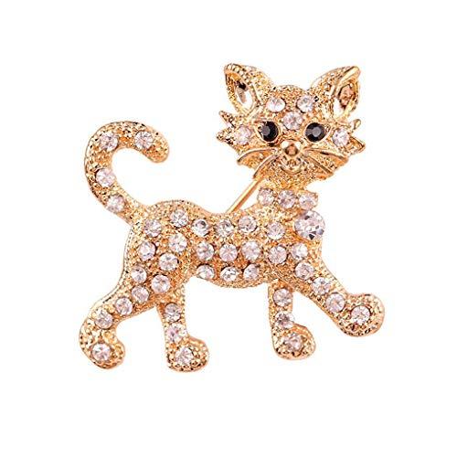Pegcdu de las Mujeres de Cristal Broche de Gato Hembra Animal Clip Fular Vestido de Novia Ramo de la Broche de la Fiesta