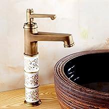 LJ Continental retro lleno grifo de cobre grifo de lavabo de un solo agujero caliente y fría grifos de la porcelana europea