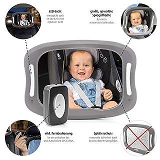 reer 86101 BabyView LED Auto-Sicherheitsspiegel - Ihr Baby auf dem Rücksitz immer im Blick, grau