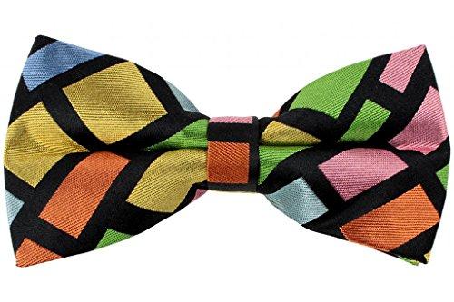 Yellow Silk Bow Tie (Hochwertige Geschenkbox mit Fliege, bunte Quadrate, vorgebundene Fliege aus Seide, St George)