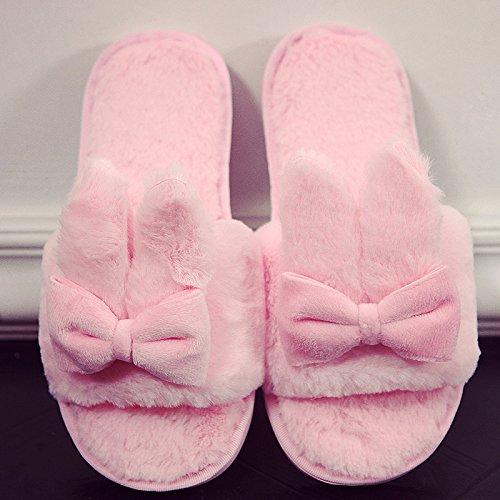 DogHaccd pantofole,Il cotone pantofole inverno femmina incantevole soggiorno di casa con anti-slittamento peluche caldo pantofole, autunno e inverno Rosa1