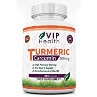 Curcuma / Curcumina 500mg 365 Capsule (Fornitura di Anno Completo) Per VIP Health - ad Alta Resistenza Curcuma Estratto di Radice.