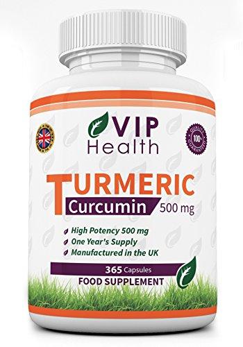 Cúrcuma / Curcumina 500mg 365 Cápsulas (Suministro de Año Completo) por VIP Health - Extracto de Raíz de Cúrcuma de Alta Resistencia