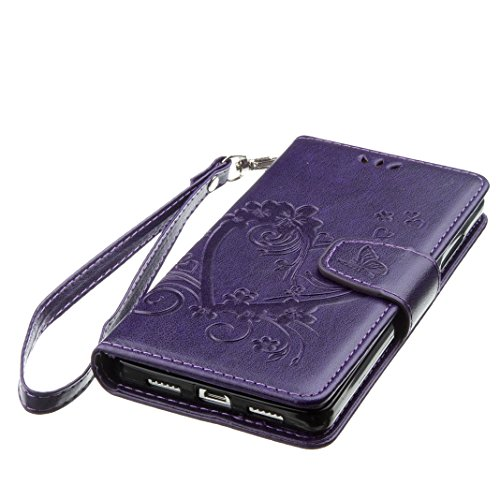 Huawei P8 Lite Ledergeldbörse Handyhülle Shell Hülle Bumper, Portemonnaie Hülle für Huawei P8 Lite HuaForCity® Huawei P8 Lite Leder Kratzfest Smartphone Fall Wallets Shell mit Karten Schlitz Halter Ma PU-1-Purple