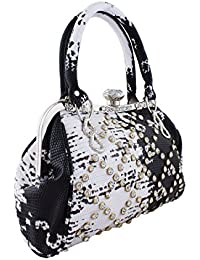 Party/Casual Black & White Handbag With Sparkling Stones