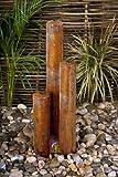 Cortenstahl-Säulenbrunnen mit LED-Beleuchtung - 137cm