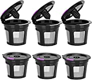 Reusable K Cups Hitogo, 6 Pack Filter Cups Compatible With Keurig Coffee Makers 1.0 &2.0, Universal Reusab