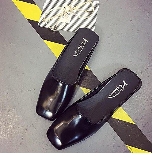 LvYuan Damen Sommer Hausschuhe / Komfort Casual Fashion / Square Kopf / Flat Ferse / Sandalen / Lazy Halbe Pantoffeln Schuhe Black