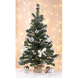 UrbanDesign Künstlicher Tannenbaum Weihnachtsbaum 75cm LED Lichterkette mit Timer fertig geschmückt (Silber geschmückt)