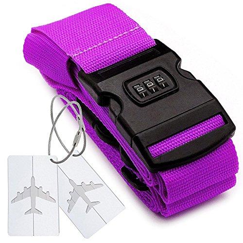Kreuz Gepäckriemen Code + 2*Bordkarte mit Nummernschloss mit hermetischer Tasche der integrierten Mitteilung für Reisetasche Gepäck Gürtel für Reise – Lila (Leder-gepäck-set Stück 2)
