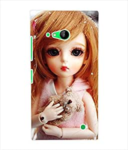 Fuson 3D Printed Cute Doll Designer Back Case Cover for Nokia Lumia 730 - D728