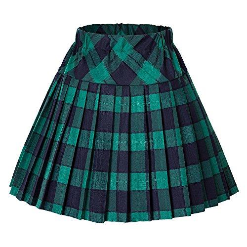 Urbancoco Damen Schulmädchen-Stil Tartan Skater Röcke (#5 grün, M) (Plaid Tartan)