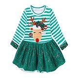 Xinan Mädchen Kleider Baby Kleidung Deer Striped Princess Christmas Outfits (130, Grün)
