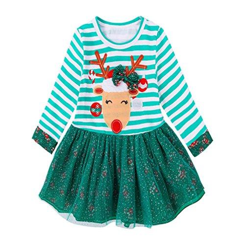 (Xinan Mädchen Kleider Baby Kleidung Deer Striped Princess Christmas Outfits (110, Grün))