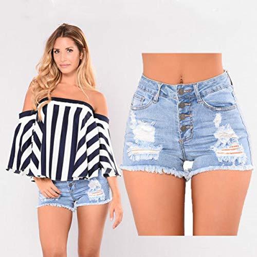 DAIDAICDK Kurze Jeans Mode Hohe Taille Lässige Denim Shorts Frauen Loch Zerrissene Sommer Quaste Streetwear Femme