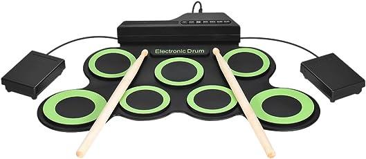 ammoon Elettronico Batteria Portatile Digitale Roll Up 7 Pastiglie di Tamburo di Silicio USB Alimentato con Bacchette Pedali Cavo Audio da 3,5 mm per Pratica Principianti Bambini (Nero + Verde)