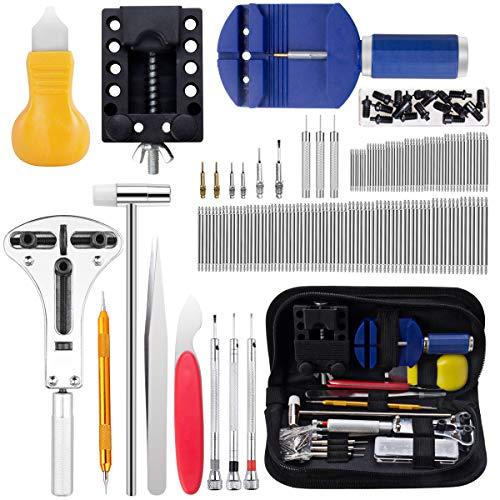 Kit di riparazione orologio, cadrim 147 pezzi strumenti di riparazione professionali per barra a molla, kit di attrezzi per la sostituzione della batteria, vari accessori, ecc.