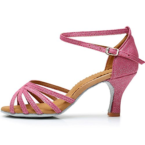 Azbro Women's Open Toe Strap High Heels Latin Dance Shoes Pink